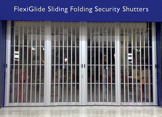 FlexiGlide sliding folding security shutter.